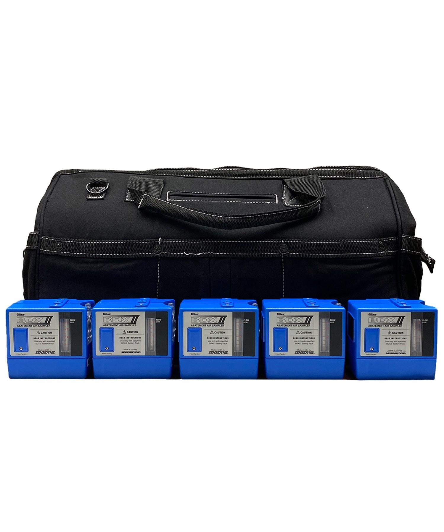 "Sensidyne Gilian BDX-II 5-Pump Kit w/ 5 Single Chargers in 20"" CANVAS WORK BAG w/custom foam"