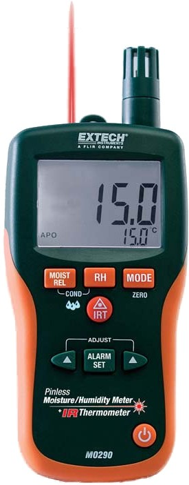 Extech MO290 Pinless Moisture Psychrometer + IR Thermometer