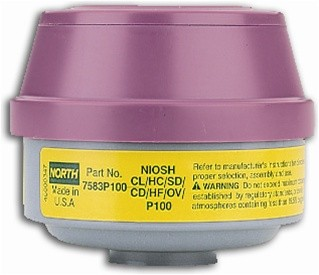 North by Honeywell OV/Acid Gases/P100 Cartridges 2/pk