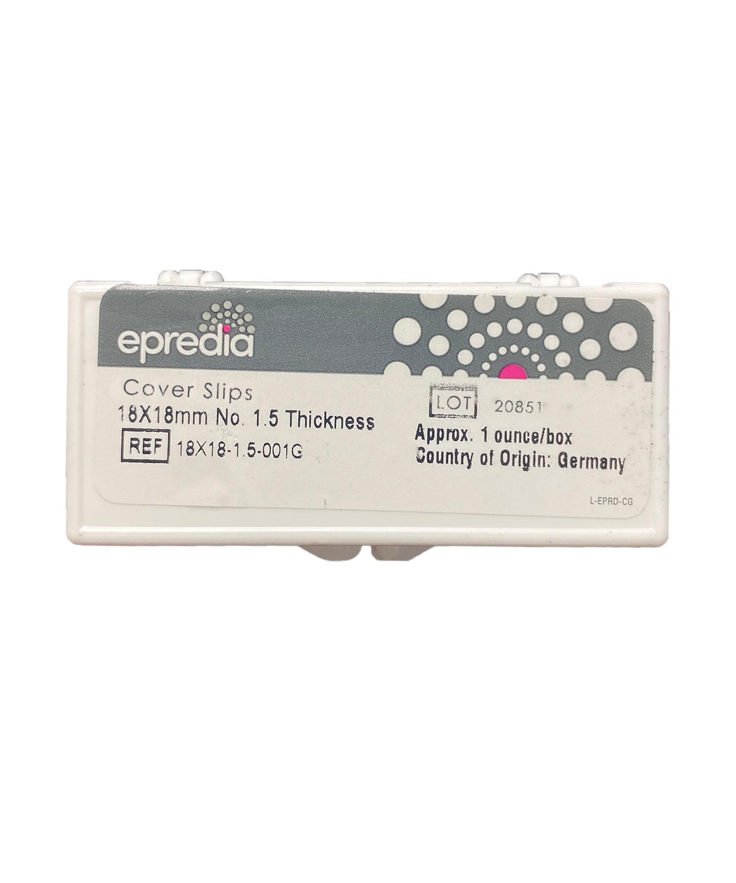 18 x 18mm Cover Glass,#1.5, Esco/Epredia (1 OZ box)