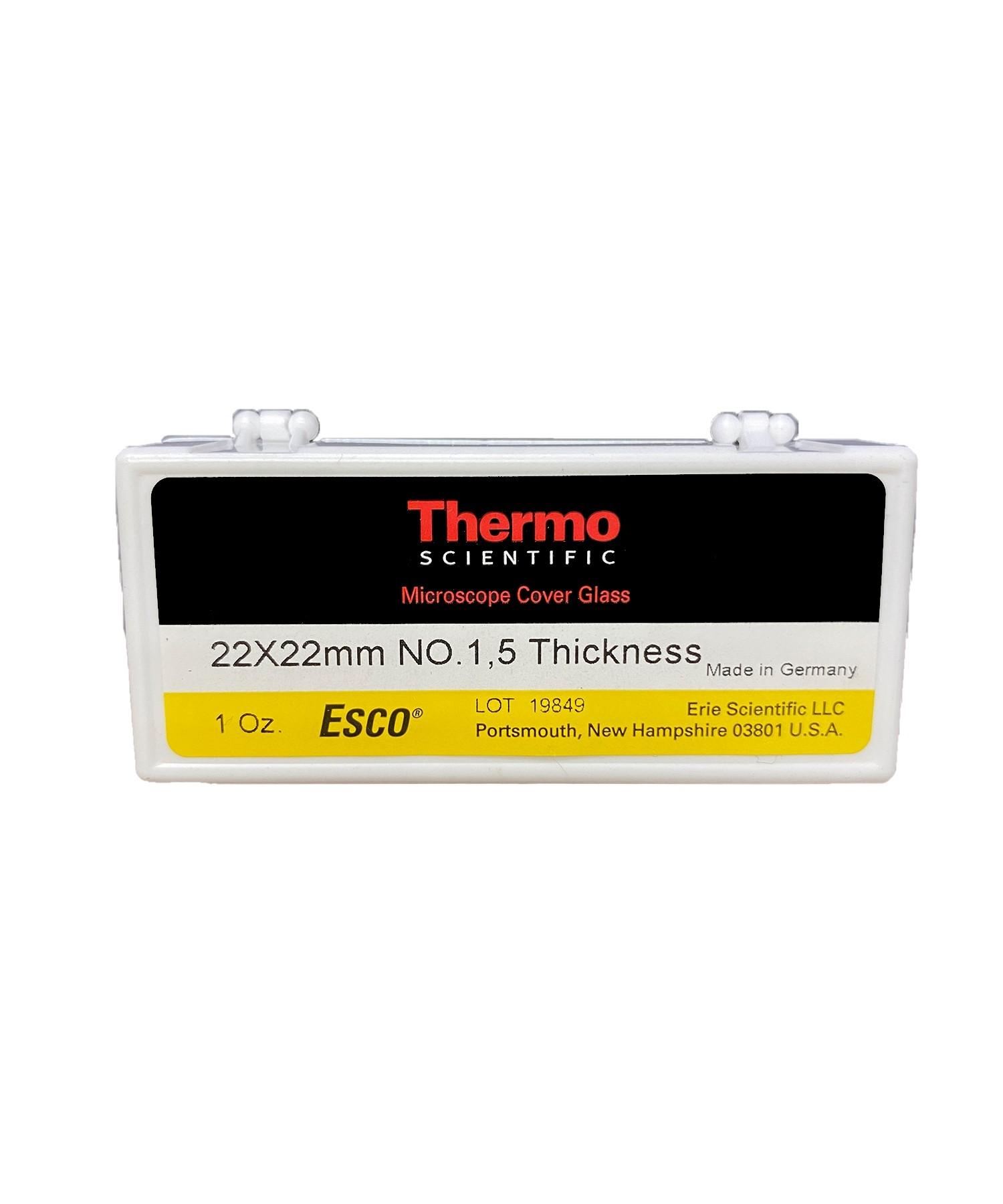 22 x 22mm Cover Glass, #1.5, Esco/Epredia (10 1 OZ Boxes)