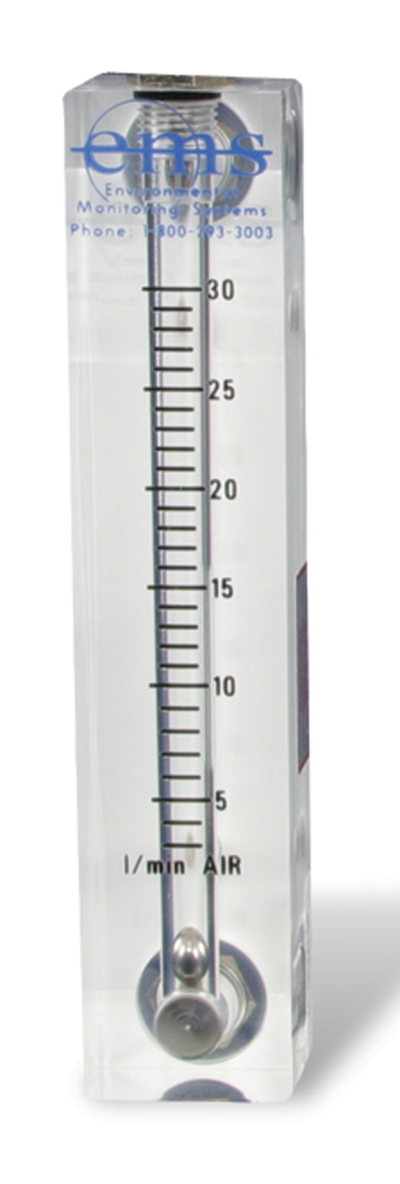 Economy Field rotameter, 3-30 LPM (Includes 2 Brass Barb Adapters)