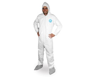Tyvek Coverall Zipper Front, Hood, Boots, Elastic Wrist & Ankles (L)