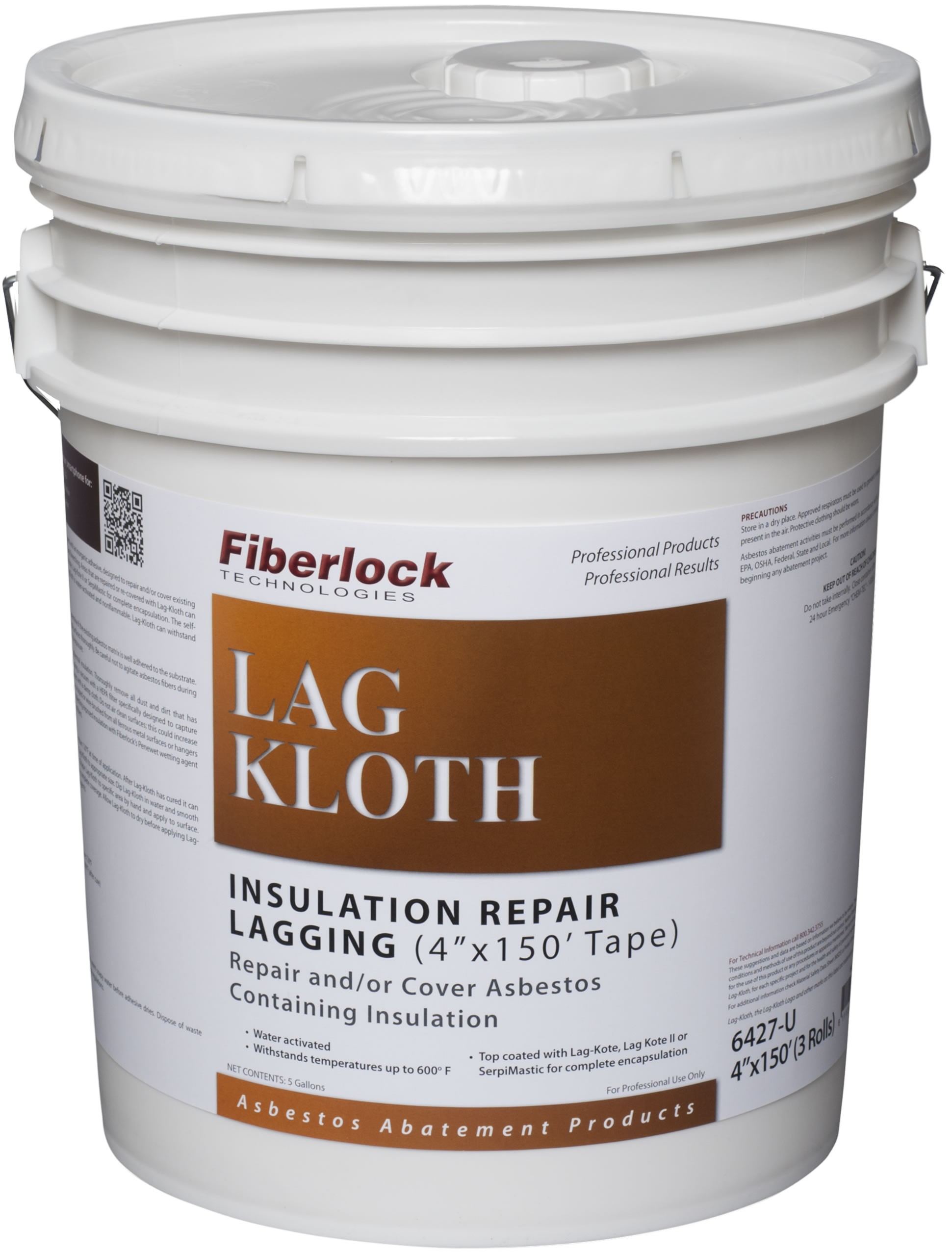 Fiberlock Lag-Kloth Water Activated Repair Cloth 4'x150' Tape Strips (3/case)