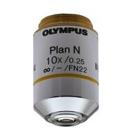 Olympus Plan Achromat 10X Objective, NA 0.25, WD 10.6MM ; PLN10X